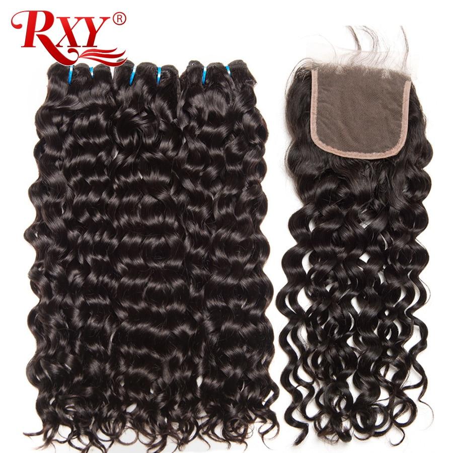 Малайзии пучки волос с закрытием RXY Волосы remy 3bundles волна воды человеческих волос  ...