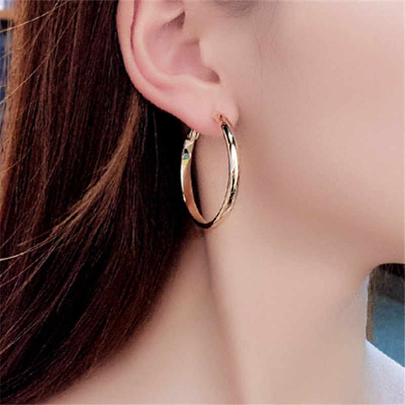 Hot new silver plated big Smooth Circle earrings fashion classic women jewelry best gift Fashion big round earrings New style
