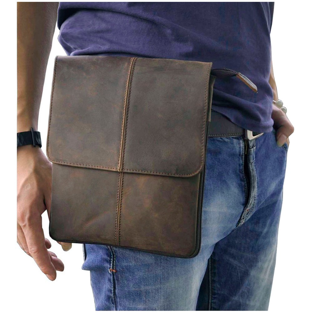 Genuine Leather Men Fashion Casual Small Slim Messenger Shoulder Crossbody Bag Design Waist Belt Pack Waist Phone Pad Pouch 8713