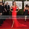 Хайди клум знаменитости красный ковер платья красные блестки 2015 72-я золотой глобус шифон платья одно плечо vestido феста