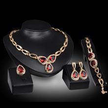 Chapado en oro con el traje africano Rojo Púrpura de cristal de circón Anillo collar pendientes pulsera set mujeres sistemas de la joyería nupcial
