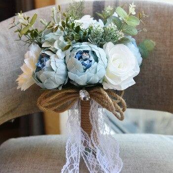 2018 New design rustic  Silk Peony  wedding bouquet arrangement for wedding  bouquet and home decoration