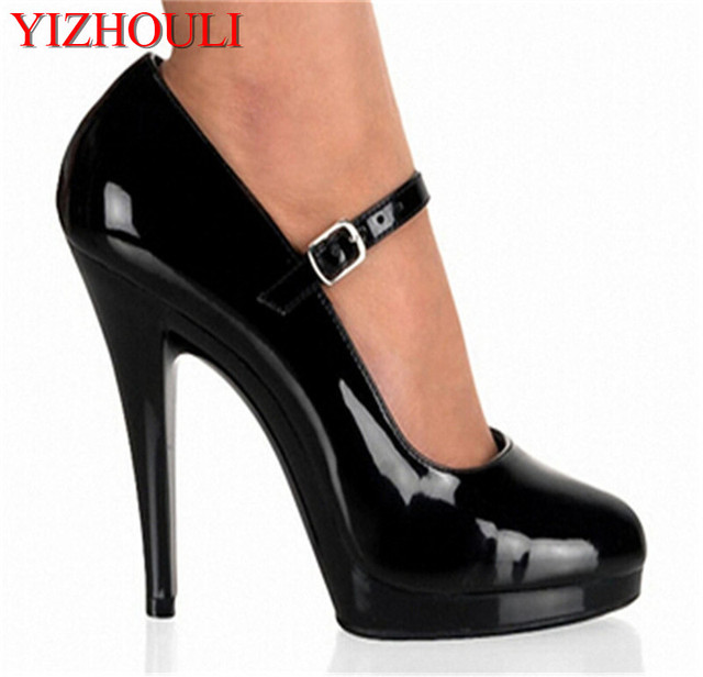 black Ankle Strap Style 13cm High Heel Sandals Platforms Pole Dance Model  Shoes 5 inch cover heel womens shoes