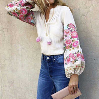 Boho Floral Embroidered Blouse Women 3/4 sleeve V neck Tassel Hippie Chic Shirt Tops Casual Beach Blusa Blouses