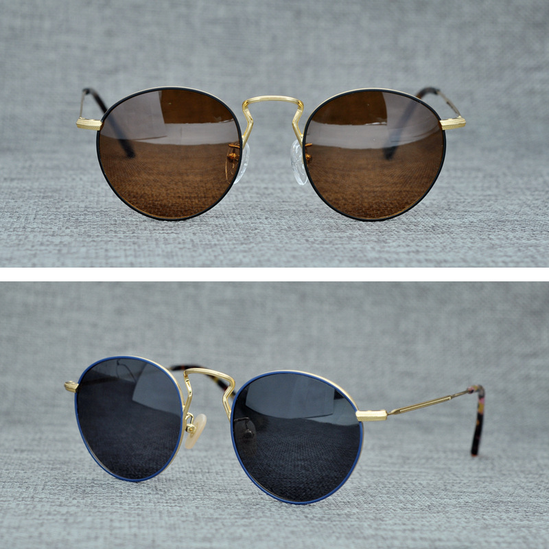 Retro Round Titanium Sunglasses for women and men Polarized Vinatge UV400 Protection Sun glasses Eyewear Oculos De Grau