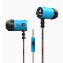 Original KZ ED3 HiFi MP3 Bass Auriculares En La Oreja Los Auriculares de Cancelación de Ruido Auriculares de 3.5 MM Auriculares Estéreo Con Cable Con Micrófono