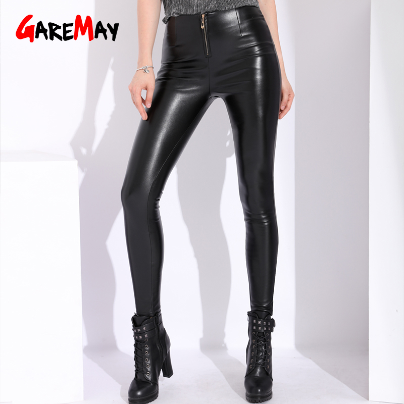 42f833b1a05af GAREMAY Winter Red Pu Leather Pants Womens Stretch High Waist Velvet Pants  Black Women Skinny White Faux Leather Trousers Women