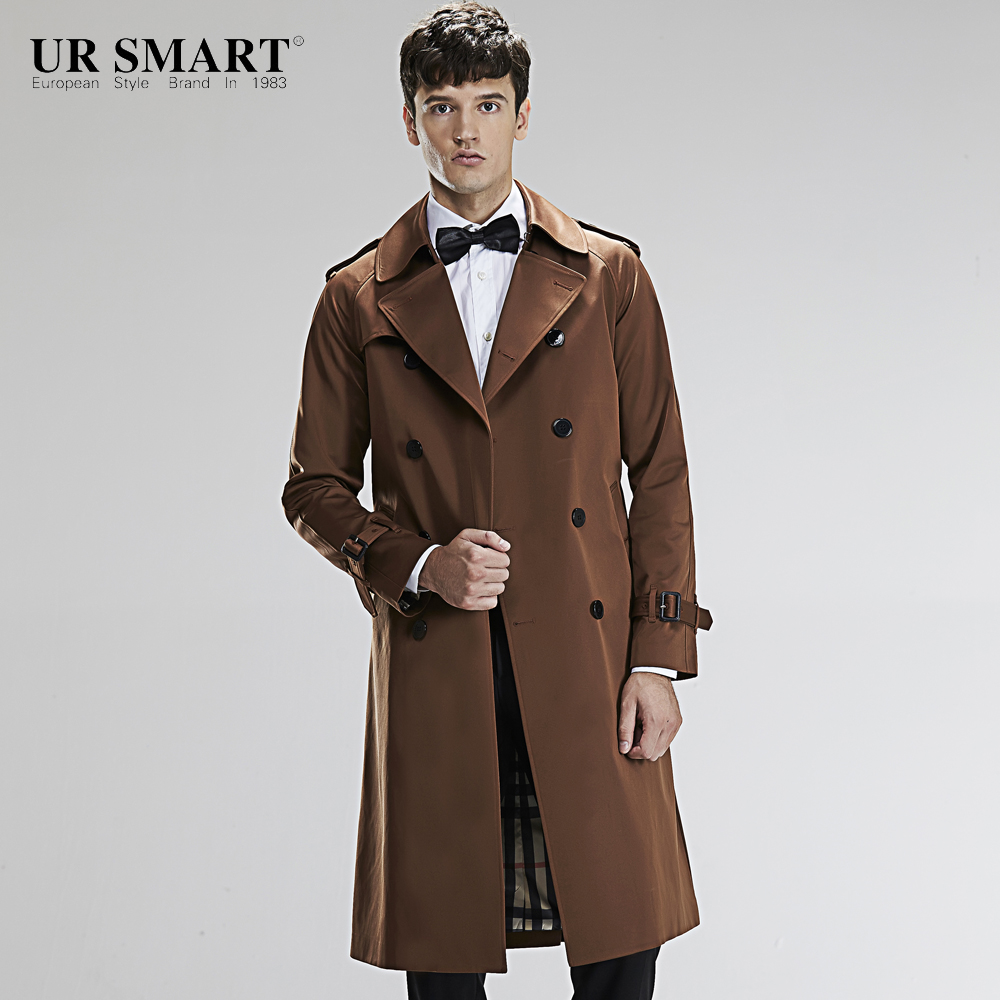 Military style URSMART authentic double breasted super long men's ...