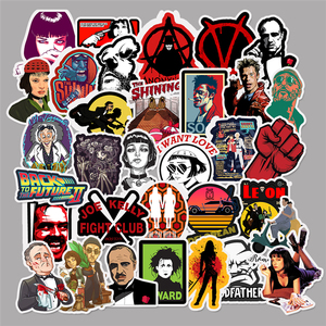 Image 1 - 50pcs Classic Movie stickers For Luggage Laptop Art Painting Kill Bill Pulp Fiction Poster Stickers waterproof skateboard toy