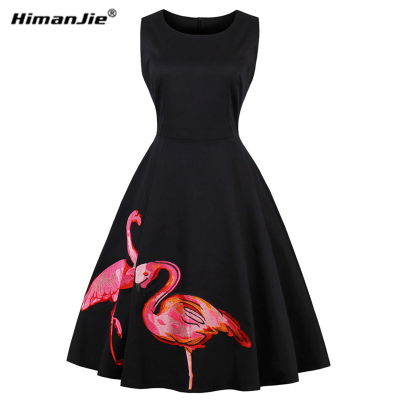 Himanjie Plus Size Black Embroidery Flamingo Print Party Vintage Dress Sleeveless O Neck Zipper Vestidos Elegant Retro Dresses