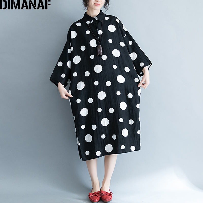 DIMANAF Women Blouse Shirts Summer Plus Size Polka Dot Linen Female Office Lady Large Clothing Loose Long Cardigan Black 2018