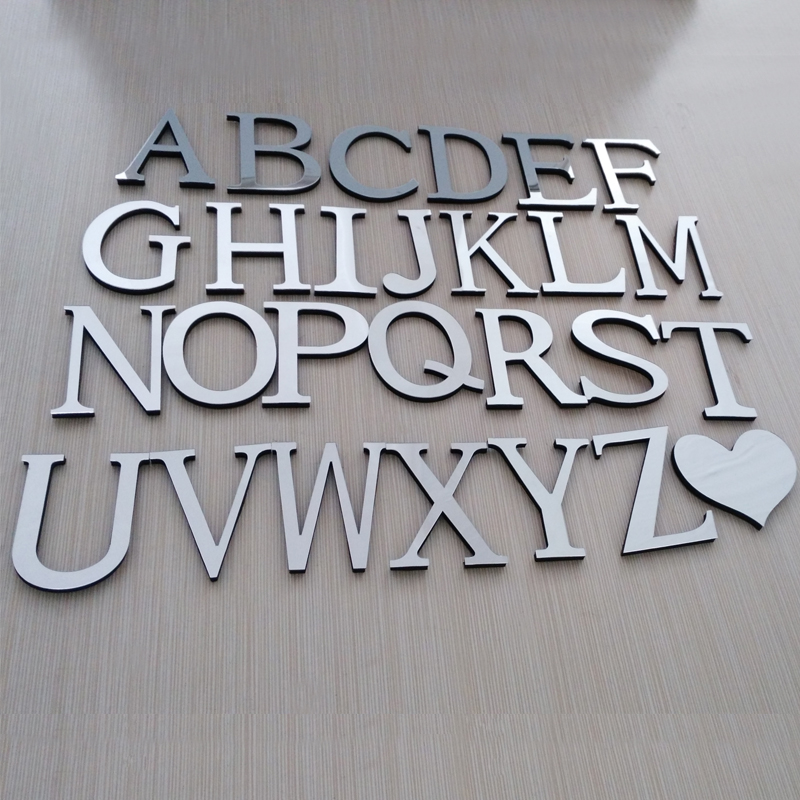 hot sale 2016 new wall stickers acrylic mirrior 3d sticker decoration wedding love letters decorative Alphabet free shipping