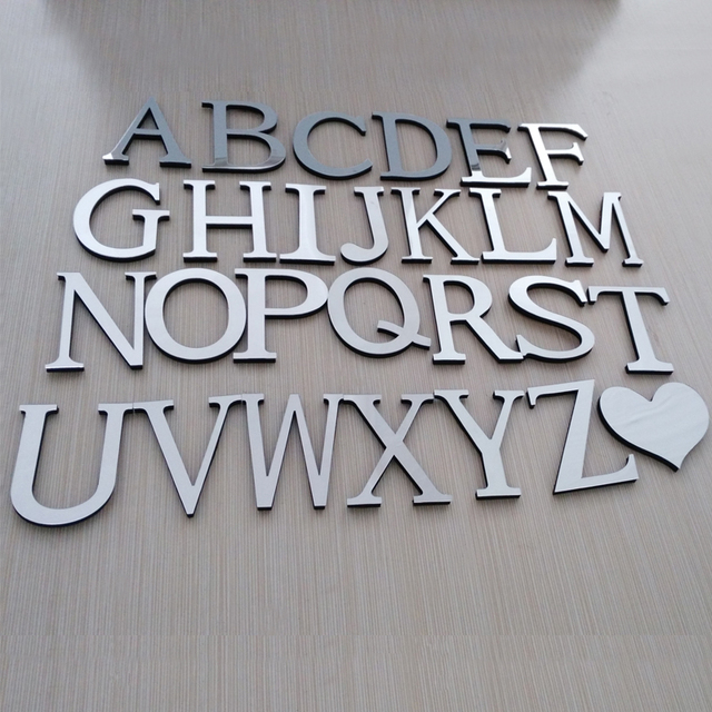 hot sale new wall stickers acrylic mirrior 3d sticker decoration wedding love letters decorative Alphabet free shipping