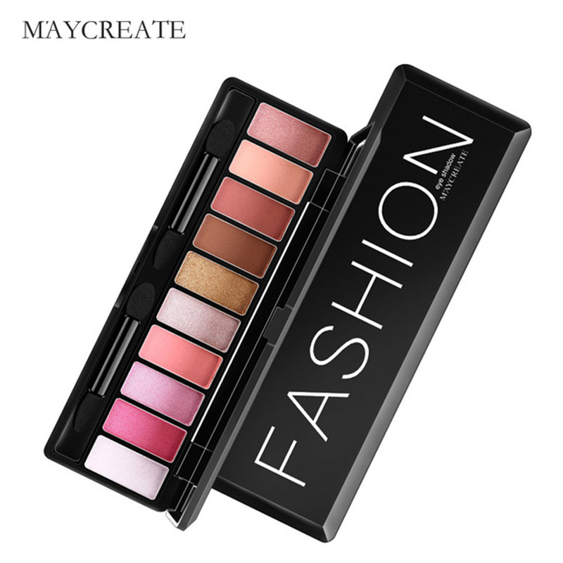 Maycreate 10 color long-lasting makeup glitter eyeshadow pallete shimmer eye shadow cosmetics natural beauty glazed easy to wear