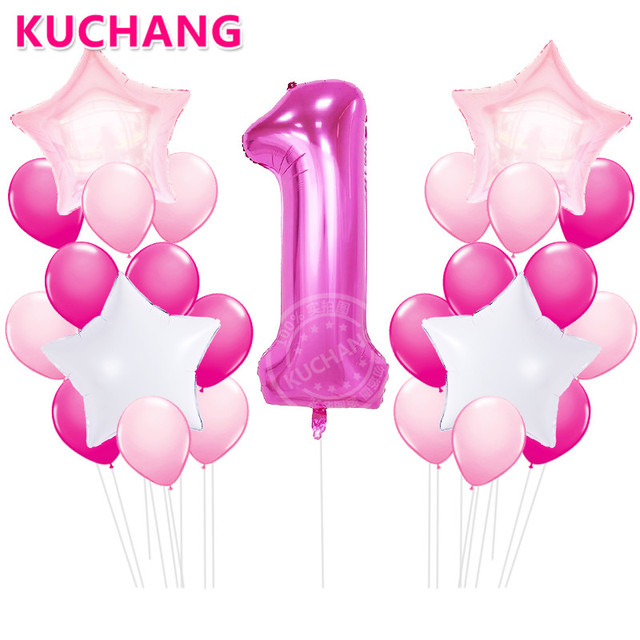 25pcs 1st Birthday Party Decoration DIY 40inch Number 1 First Balloon Foil Balloons Baby Shower Boy