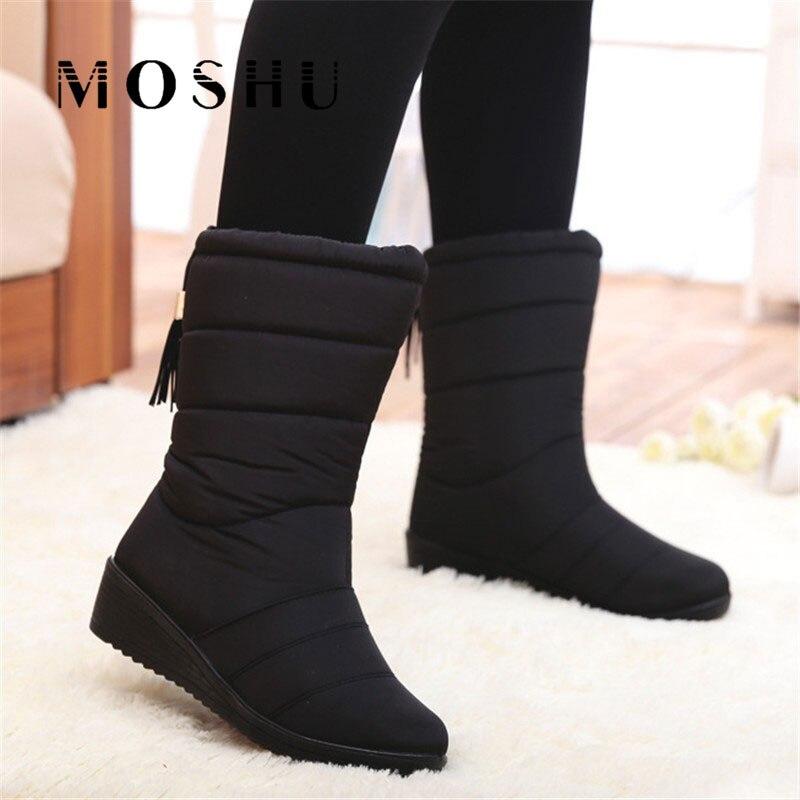 Invierno Botas mujeres Mid-Calf abajo Botas mujer impermeable Botas de nieve de invierno de las muchachas zapatos de mujer zapatos de plantilla Botas mujer
