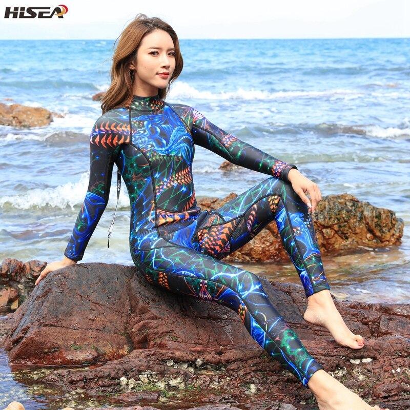 Hisea femmes Combinaisons 3mm Néoprène Élastique Natation Surf Chasse Sous-Marine Costume Combinaison maillot de bain femme Equipent matériel de plongée