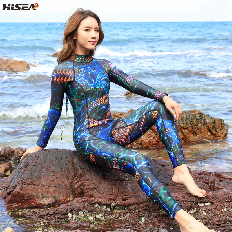 Hisea femmes combinaisons 3mm néoprène élastique natation surf chasse sous-marine combinaison femmes maillot de bain équipement de plongée