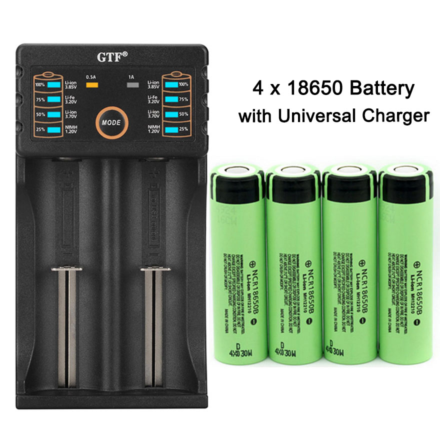 4pcs NCR18650B 18650 3.7v 3400mah Rechargeable Li-ion Battery for <font><b>Panasonic</b></font> with Universal Battery Charger for 18350 <font><b>26650</b></font> 1634 image