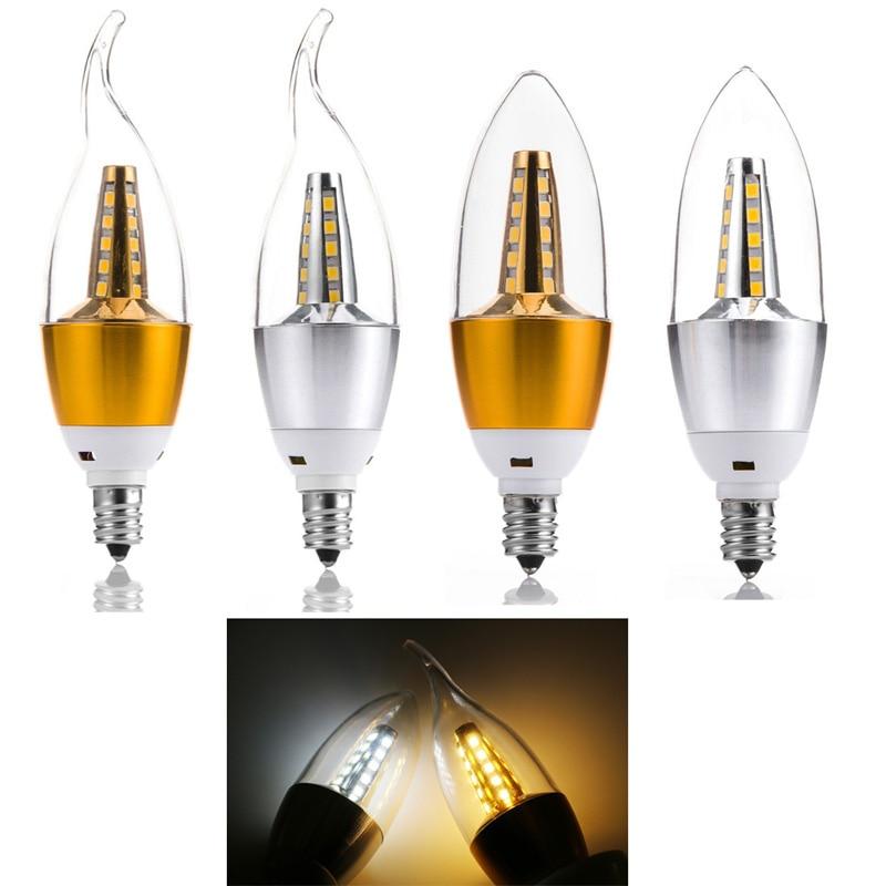 5W LED Candle Light/Flame Bulb E12/E14/E27 AC 85-265V Gold/Silver Cover Save Energy Spotlight Warm/Cool White for Home Decor5W LED Candle Light/Flame Bulb E12/E14/E27 AC 85-265V Gold/Silver Cover Save Energy Spotlight Warm/Cool White for Home Decor
