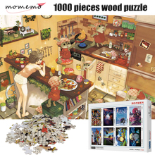MOMEMO Rabbit In Kitchen Cartoon Puzzle 1000 Pieces Wooden Jigsaw Puzzles Adult Entertainment Assembling Toys for Children Gifts