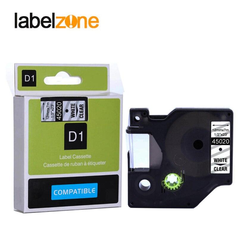 12mm 45020 Weiß Auf Klar Kompatibel Dymo D1 12mm Label Drucker 45020 Laminiert Label Bänder Für Labelmanager 160 280 Drucker