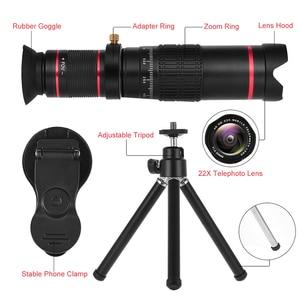 Image 4 - Lente teleobjetivo 4K HD para teléfono móvil, Zoom óptico Universal, telescopio Monocular de 22x, prismáticos, lupa telescópica, Spyglass/trípode