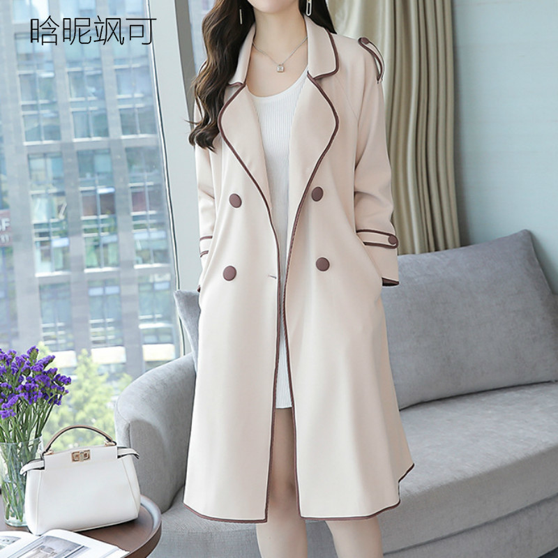 Trench   Coat Women Double-Breasted Trenchcoat Female Autumn Casual Windbreaker Outwear Plus Size Raincoat with Sashes Outerwear