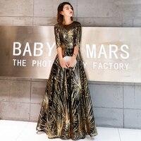 Robe De Soiree Evening Dress 2019 Gold Sequined Crystal O Neck Black Floor length Dinner Gowns LF405