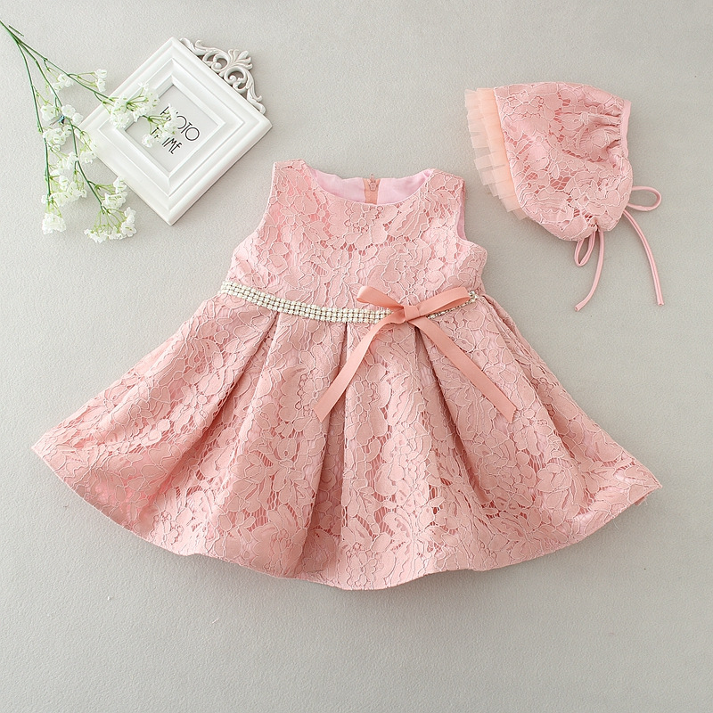 White And Pink Lace Baby Girl Christening Gowns 1 Year Birthday Dress Robe Bapteme Fille Princess Party Dresses
