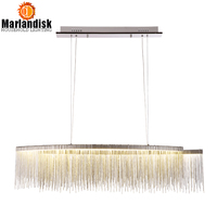 Modern Elegancy Aluminum Chain LED Pendant Light For Restaurant Hotel Hall Dining Room Silver Creative Hanging Pendent Lights