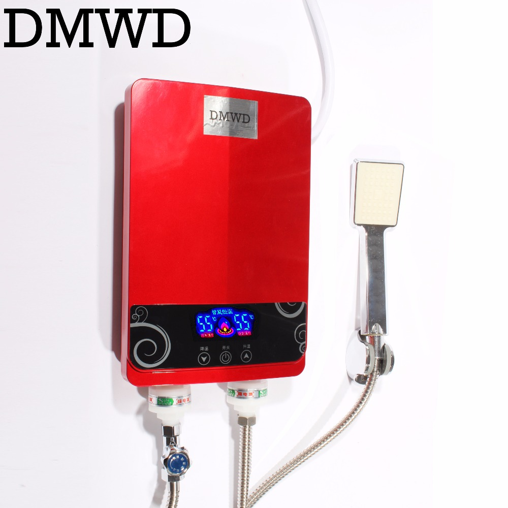 DMWD 7000W Electric kitchen Tankless hot Water Heater Shower Instant Instantaneous Water thermostat Heating Heater Bathroom EU high quality 32l hot water storage type heating machine electric water heater for shower bathroom device eu us plug