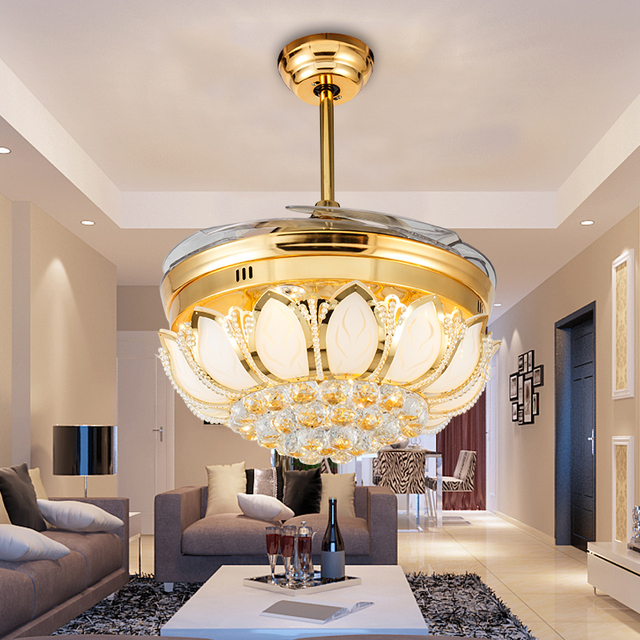 42 Or 32 Ultra Quiet Gold Lotus Hidden Blade Invisible Ceiling Fans Lamps With Retractable And Remote Control