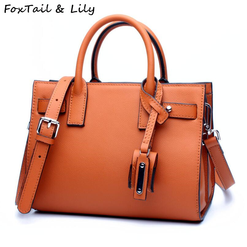 FoxTail & Lily Luxury Women Real Leather Tote Bag 100% Cow Leather Handbags Fashion Brand Small Ladies Shoulder Messenger Bags eimore brand genuine leather handbags women small simple tote bag luxury fashion ladies classic pattern leather shoulder bags
