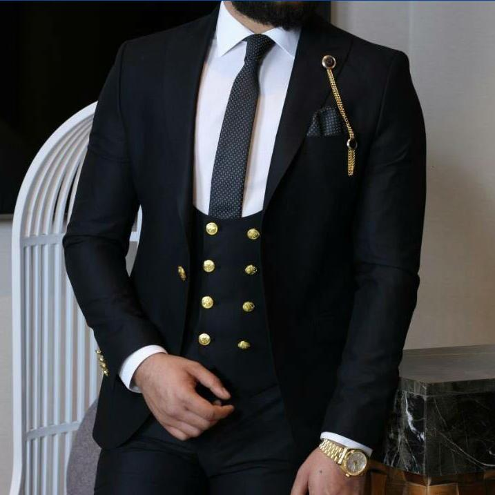 New Arrival One Button Groomsmen Peak Lapel Groom Tuxedos Men Suits Wedding/Prom Best Man Blazer ( Jacket+Pants+Vest+Tie)A94