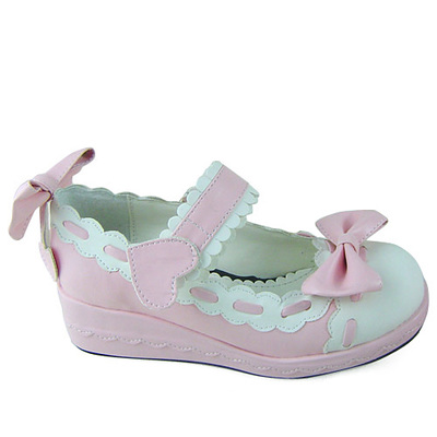 Princess sweet lolita shoes Lolita Japanese design customized special shaped blue with white bow buckle platform shoes 1241 цена