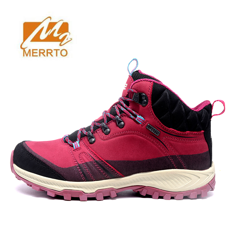 MERRTO Women's Winter Hiking Trekking Boots Tactics Shoes Leather waterproof outdoor Climbing camping anti-skid Sneaker 2 colors merrto men waterproof leather hiking shoes outdoor trekking boots trail camping climbing high quality outventure hunting shoes