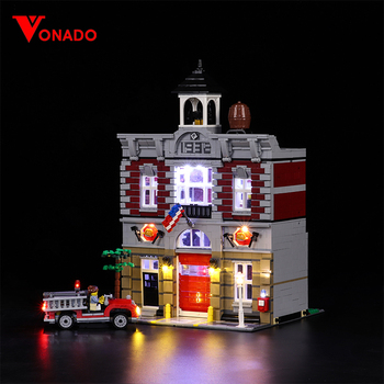 Led Light For Lego 10197 Building Bricks Blocks Creator City Street Fire Brigade Compatible 15004 Toys ( light with Battery box)