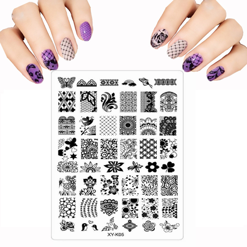 2017 Stencils For Nails Transparent Plastic Color Printing DIY Nail Art Templates Flower Lace Lot Graphics Nail Stamping Plates