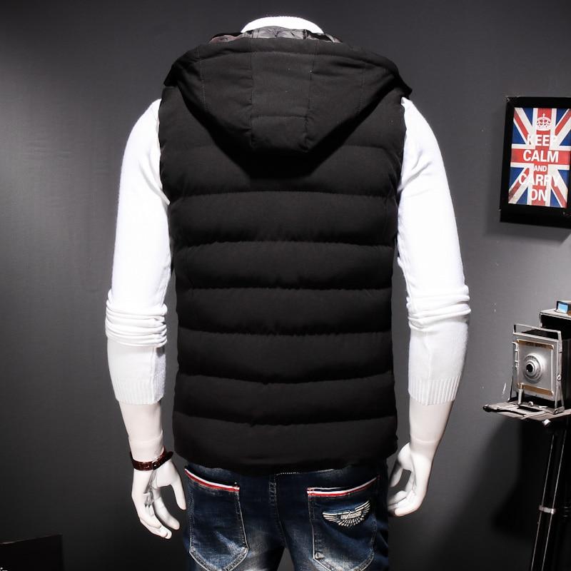 Plus Size 8XL 7XL Winter men's Warm sleeveless Vest men cotton hooded jacket male zipper Waistcoat for Autumn male gilet homme - 4