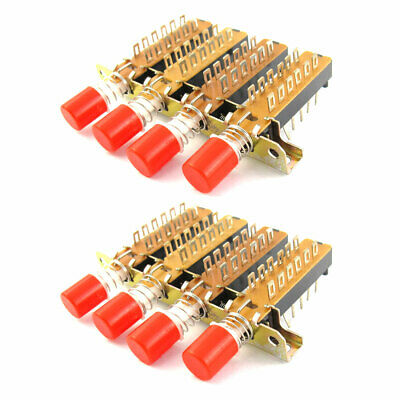 4P2T 4 Rows Interlock Push Button Knob Piano Key Switch 2 Pcs image
