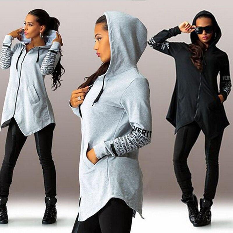 Frauen Kapuzenpullover Sweatshirt Langarm Hoodies Jumper Mit Kapuze langarm patchwork buchstaben dünnen sweatshirt schwarz grau s-xl