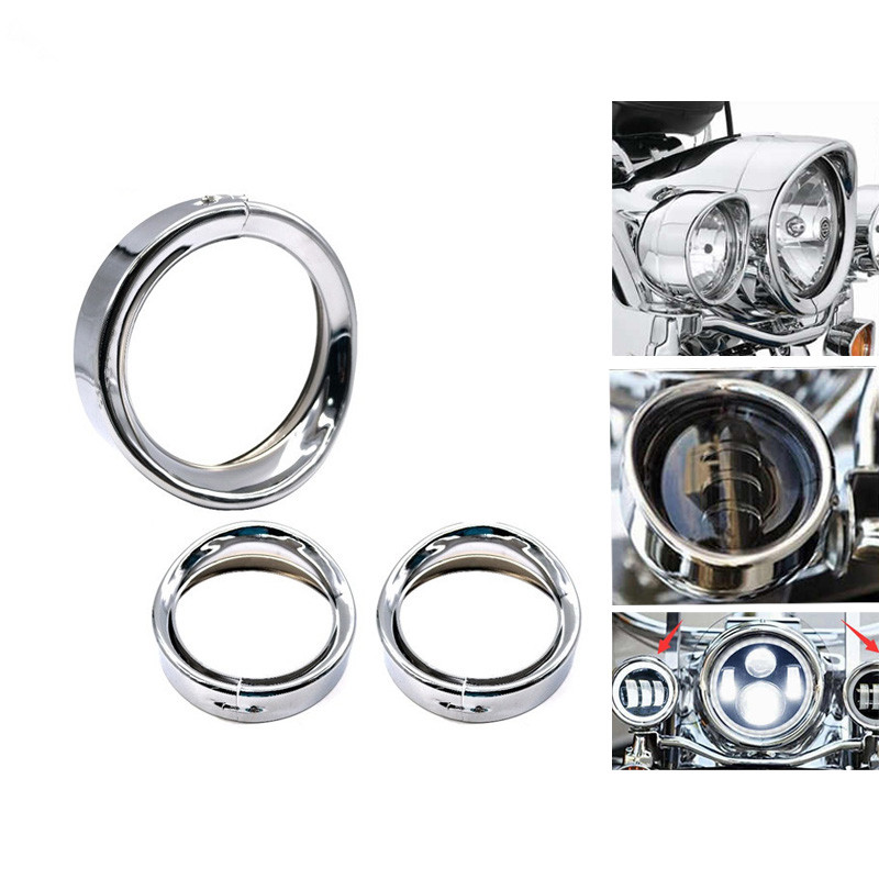 Us 13 96 21 Off Motorcycle 4 5 Inch Led Fog Light Visor Style Passing Lamp Trim Ring And 7 Inch Headlight Recessed Light Trim Rings In Covers