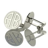 Personalized Block Monogram Cufflinks Custom 2 Initials Wedding Cufflinks Silver Groom Cufflinks Circle Monogrammed For Men