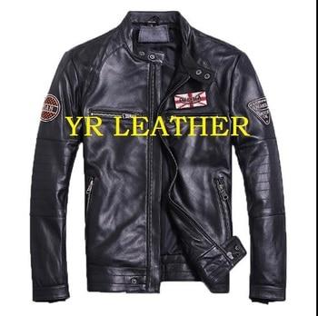 YR!Free shipping.man moto biker genuine leather jacket.100% sheepskin coat.mens plus size slim leather jackets,Popular sales