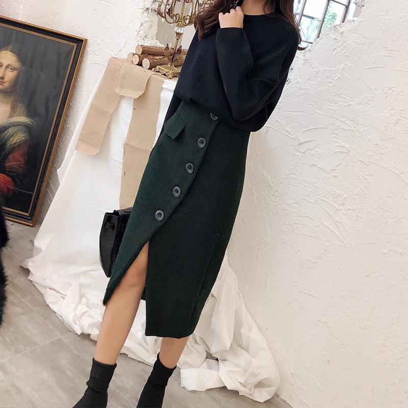 Lápiz 2019 Único Y Otoño De Elegante Nueva Formal 2xl Cálido Faldas Lana Breasted Damas Invierno Envío Las Mujeres Gratis S OH5qS