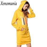 Plus Size Hoodie Kleid Herbst Winter Kleid Frauen Weihnachten 2017 Mode Sweatshirte Vestidos Ukraine Langarm Kleider Robe