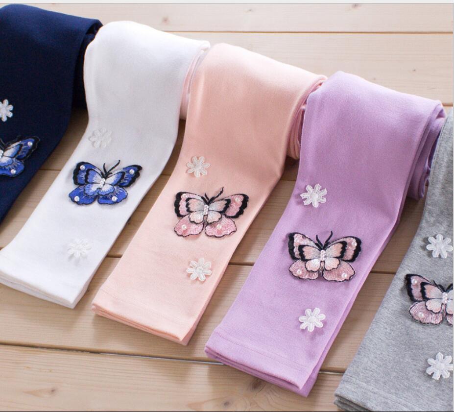 Handmade bead Children Leggings Sweet and lovely Butterfly Embroidery Pants Winter Warm Robe Enfant Girls Skinny
