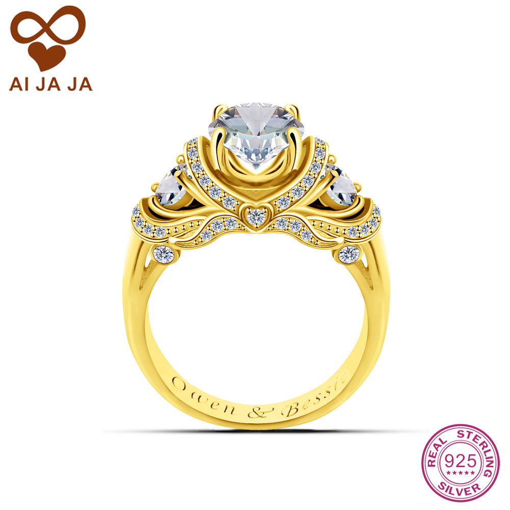 aijaja 925 sterling silver engraved wedding rings personalized luxurious cz stones paved 126 carat cz rings gold color - Wedding Ring Engraving