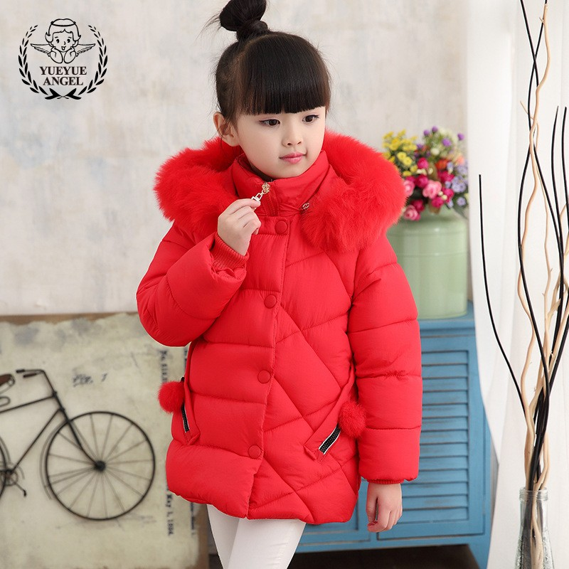 2018 New Girls Winter Warm Padded Jacket Faux Fur Collar Thicken Parka Pompom School Girl Outwear Overcoat Slim Fit Coat Jackets часы guess 2014